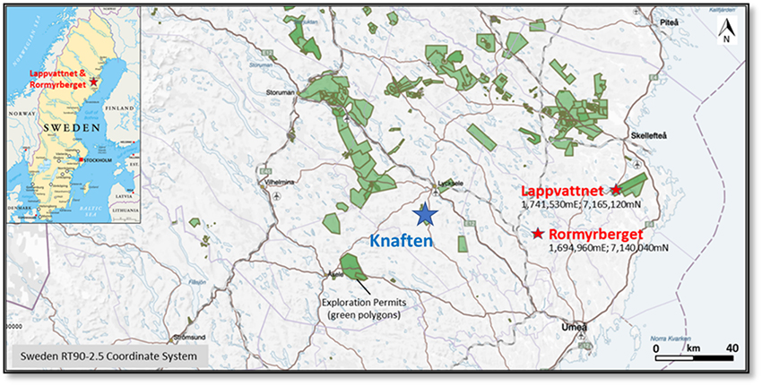 Figure 1: Lappvattnet and Rormyrberget Ni-Cu Properties in Sweden (Vasterbotten District) - Exploration Permits Location Map