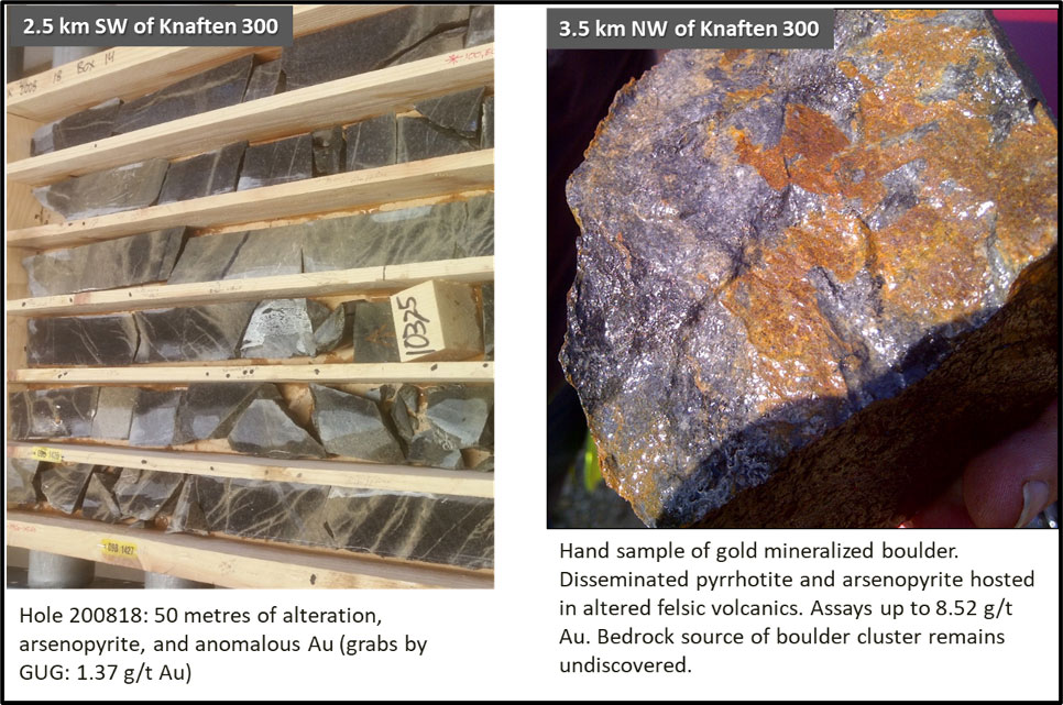 Figure 6: Other gold targets on the Knaften property